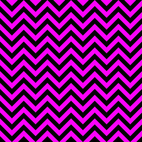 Three Inch Pink and Black Chevron Stripes