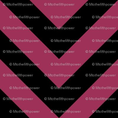 Three Inch Sangria Pink and Black Chevron Stripes