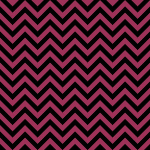 Three Inch Sangria Pink and Black Chevron Stripes