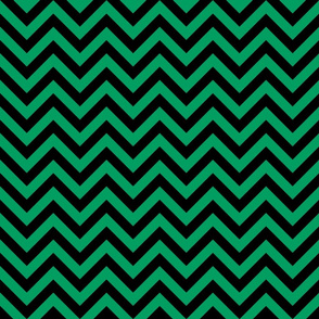 Three Inch Shamrock Green and Black Chevron Stripes