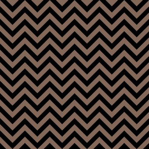 Three Inch Taupe Brown and Black Chevron Stripes