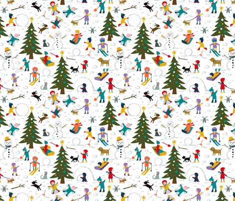 Christmas village kids fun in the snow fabric by heleen_vd_thillart on Spoonflower - custom fabric