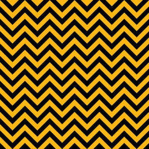 Three Inch Yellow Gold and Black Chevron Stripes