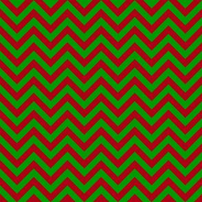 Three Inch Christmas Green and Dark Red Chevron Stripes