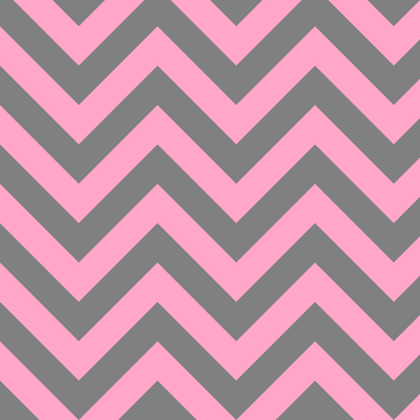 Three Inch Carnation Pink and Medium Gray Chevron Stripes fabric by mtothefifthpower on Spoonflower - custom fabric