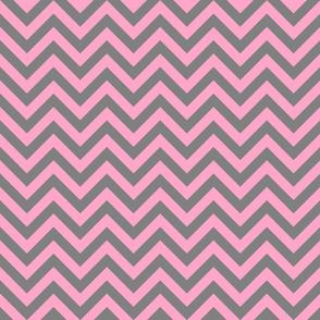 Three Inch Carnation Pink and Medium Gray Chevron Stripes