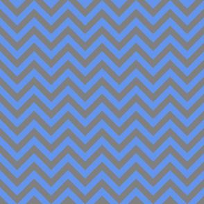 Three Inch Cornflower Blue and Gray Chevron Stripes