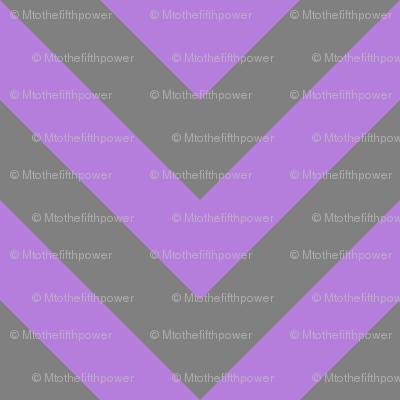 Three Inch Lavender Purple and Medium Gray Chevron Stripes