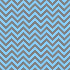 Three Inch Light Sky Blue and Medium Gray Chevron Stripes