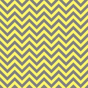 Three Inch Light Yellow and Medium Gray Chevron Stripes