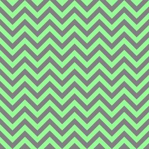 Three Inch Mint Green and Medium Gray Chevron Stripes