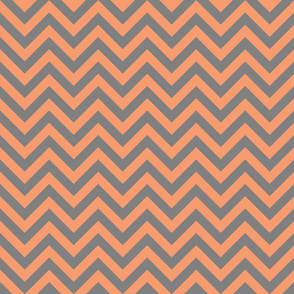 Three Inch Peach and Medium Gray Chevron Stripes