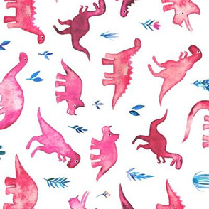 Rotated Tiny Dinos in Magenta and Coral on White Large Print