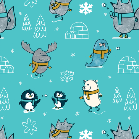 Polar Pals Igloo fabric by amywalters on Spoonflower - custom fabric