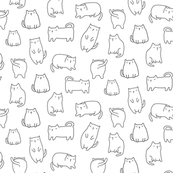 MEDIUM Fat white cartoon cats pattern