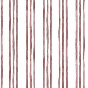 Cinnamon and White Watercolor Stripes