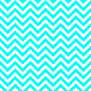 Three Inch Aqua Blue and White Chevron Stripes