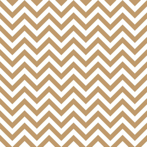 Three Inch Camel Brown and White Chevron Stripes