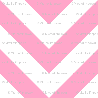 Three Inch Carnation Pink and White Chevron Stripes