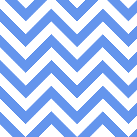 Three Inch Cornflower Blue and White Chevron Stripes fabric by mtothefifthpower on Spoonflower - custom fabric