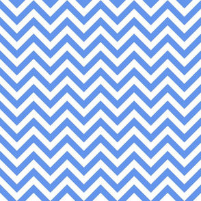 Three Inch Cornflower Blue and White Chevron Stripes