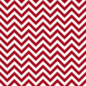 Three Inch Dark Red and White Chevron Stripes