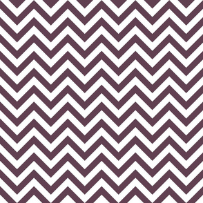 Three Inch Eggplant Purple and White Chevron Stripes