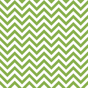 Three Inch Greenery Green and White Chevron Stripes