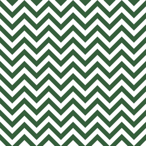 Three Inch Hunter Green and White Chevron Stripes