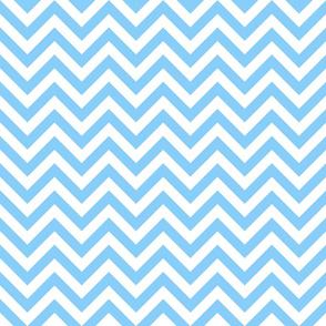 Three Inch Light Sky Blue and White Chevron Stripes