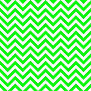 Three Inch Lime Green and White Chevron Stripes