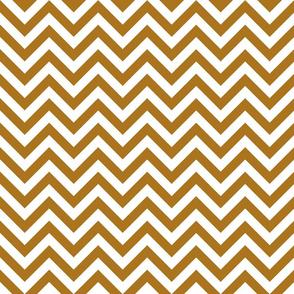 Three Inch Matte Antique Gold and White Chevron Stripes