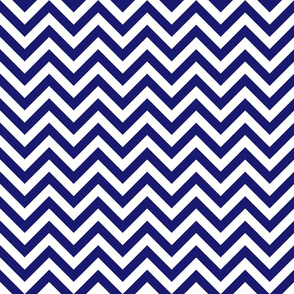 Three Inch Midnight Blue and White Chevron Stripes