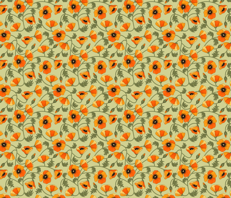 poppies_yellow fabric by juditgueth on Spoonflower - custom fabric