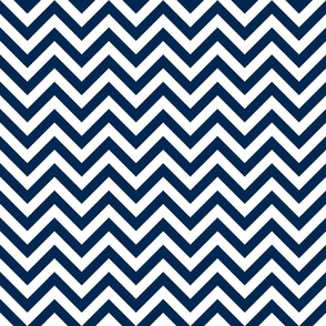 Three Inch Navy Blue and White Chevron Stripes