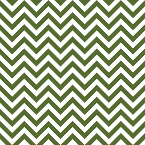 Three Inch Olive Green and White Chevron Stripes