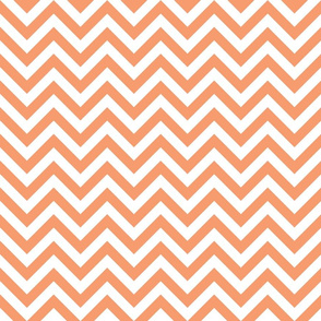 Three Inch Peach and White Chevron Stripes