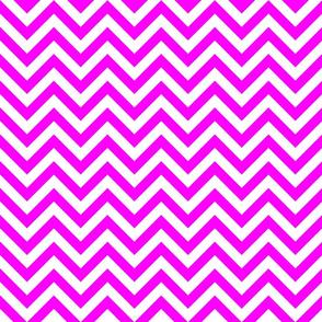 Three Inch Pink and White Chevron Stripes