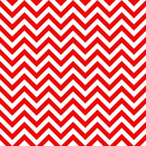 Three Inch Red and White Chevron Stripes