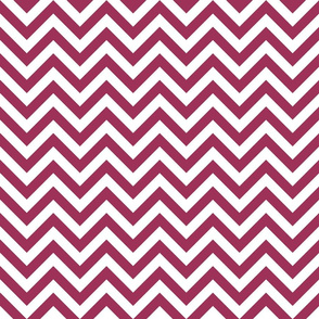 Three Inch Sangria Pink and White Chevron Stripes