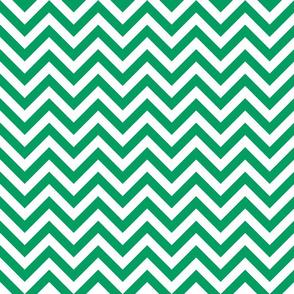 Three Inch Shamrock Green and White Chevron Stripes