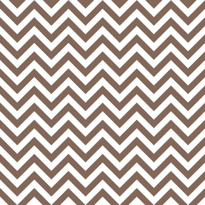 Three Inch Taupe Brown and White Chevron Stripes