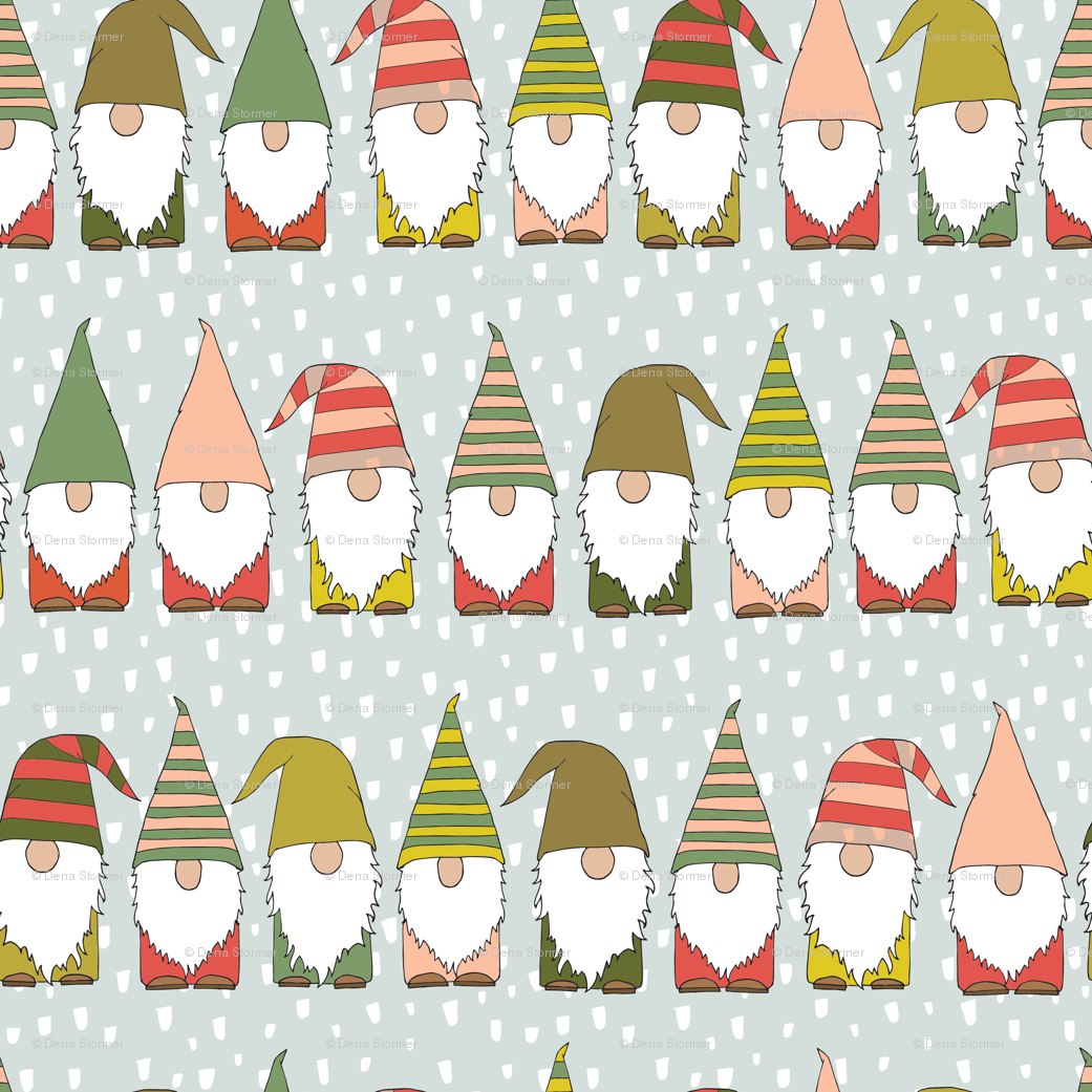 Christmas Gnomes wallpaper - heartsandsharts - Spoonflower