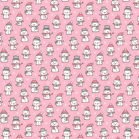Winter Christmas Snowman & Snowflakes in Pink Tiny Small fabric by caja_design on Spoonflower - custom fabric