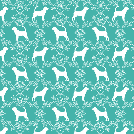 Bloodhound silhouette dog breed floral turquoise small version fabric by petfriendly on Spoonflower - custom fabric