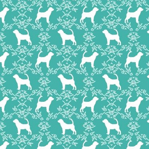 Bloodhound silhouette dog breed floral turquoise small version