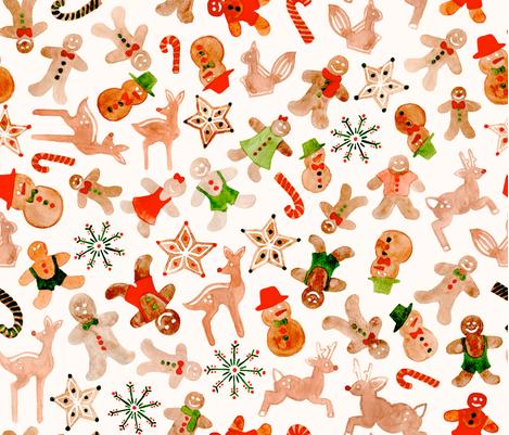 Gingerbread cookies galore! fabric by cynthiahoekstra on Spoonflower - custom fabric