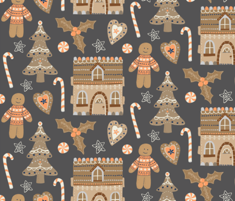 Gingerbread Christmas fabric by rachelmacdonald on Spoonflower - custom fabric