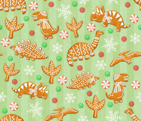 Gingerbread Dinos - Spearmint fabric by artfully_minded on Spoonflower - custom fabric