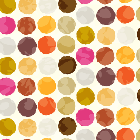 Fall Autumn Truffle Dots || Orange Gold Gray Pink Plum Drops Spots Chocolate Circle Ball _ Miss Chiff Designs fabric by misschiffdesigns on Spoonflower - custom fabric